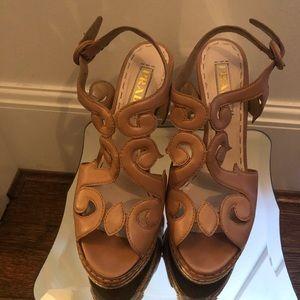 Prada Tan Leather Platform Sandals Size 37.5